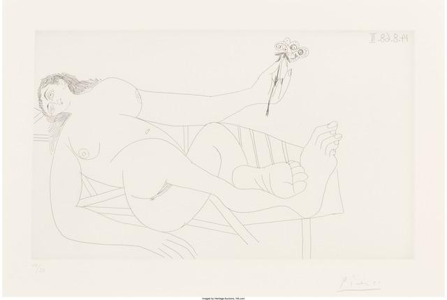 Pablo Picasso, 'Femme à la Fleur sur un Transat, from La Série 347', 1968, Print, Etching, Heritage Auctions