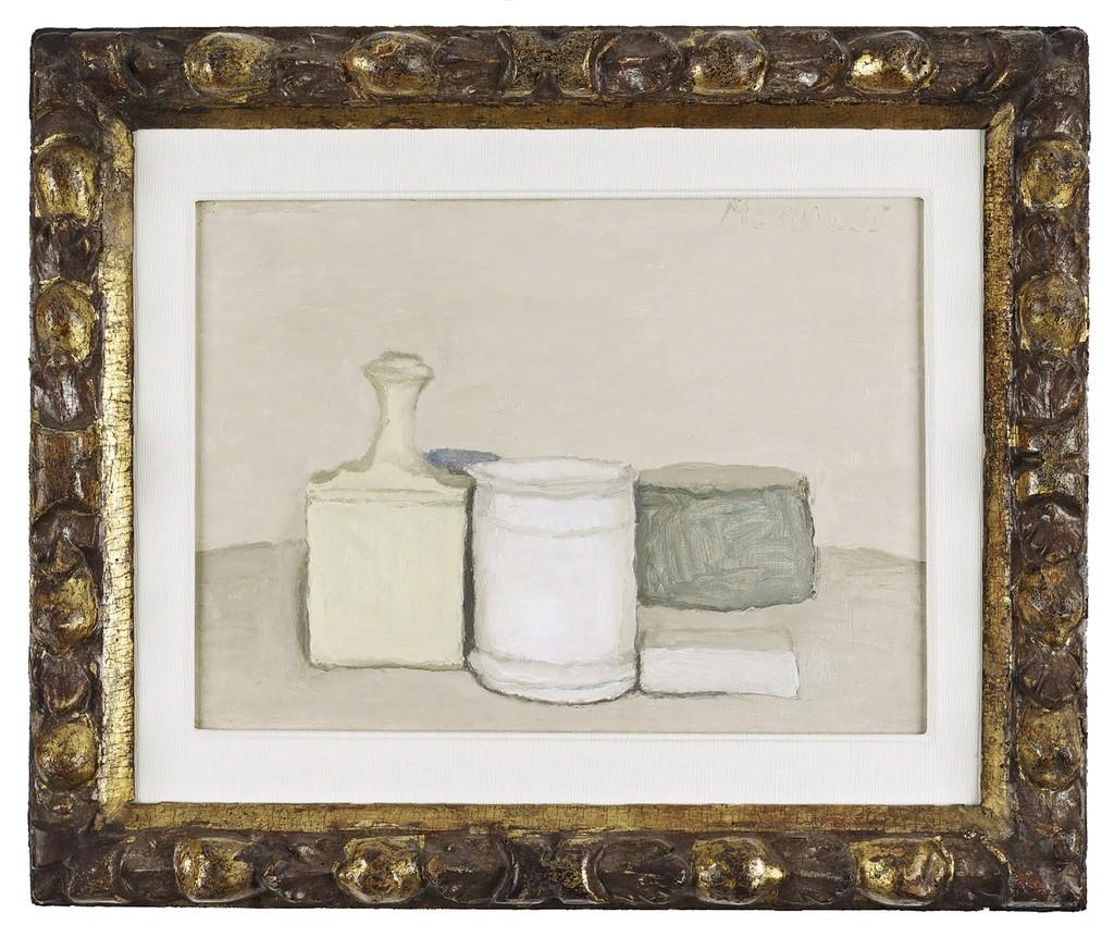 Giorgio Morandi (1890 – 1964), 'Natura Morta', 1953. Oil on canvas, 33.5 x 43 cm. Private collection. Photograph: John McKenzie. Courtesy Ingleby, Edinburgh.