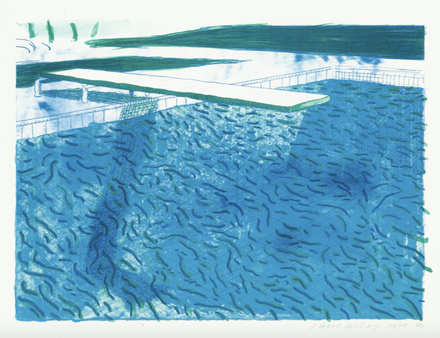 David Hockney, 'Lithograph of Water made of thick and thin lines, a green wash, a light blue wash, and a dark blue wash', 1980, Upsilon Gallery