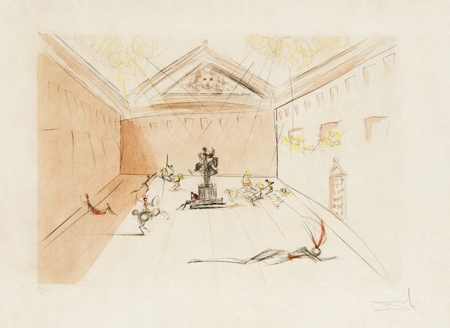 Salvador Dalí, 'Plaza Mayor (Duel in the Sun) (M & L 582b; Field 73-11)', 1973, Print, Etching with pochoir in colours, Forum Auctions