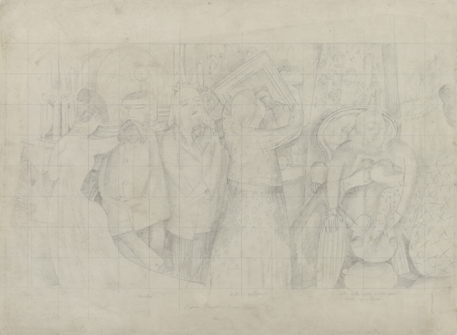 Stanley Spencer, 'Drawing for the Marriage at Cana (Bride and Bride Groom)', 1933, Bernard Jacobson Gallery