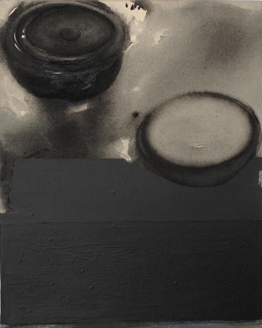 "Madhu Basu, 'Magma n°27, Acrylic & Pigment on canvas, Black, Grey by Indian Artist ""In Stock""', 2019, Gallery Kolkata"