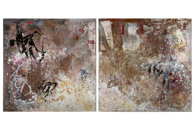 Holly Thoburn, 'Untitled (Dyptich)', 2013, Mixed Media, Mixed media and collage on canvas, Chiswick Auctions