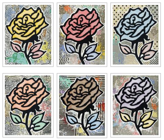 Donald Baechler, 'Rose Portfolio ', 2015, Print, 28 color silkscreen on 2 ply Museum board, Tayloe Piggott Gallery