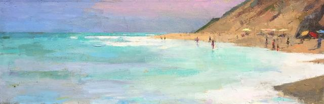 ", '""Morning Surf"" Painterly Depiction of Beach, Bright Blues, Pink Sky, Ochre Dunes,' 2010-2018, Eisenhauer Gallery"