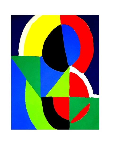 "Sonia Delaunay, 'Pochoir ""Composition"" after Sonia Delaunay', 1956, Print, Lithograph, Galerie Philia"