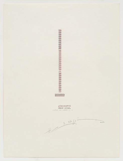 , 'Giacometti,' 1986, Richard Saltoun