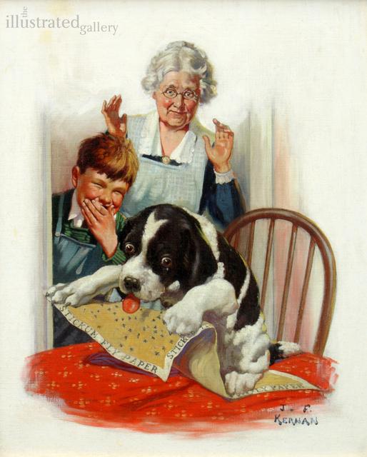 Joseph Francis Kernan, 'Grandma, Boy, And Dog', The Illustrated Gallery