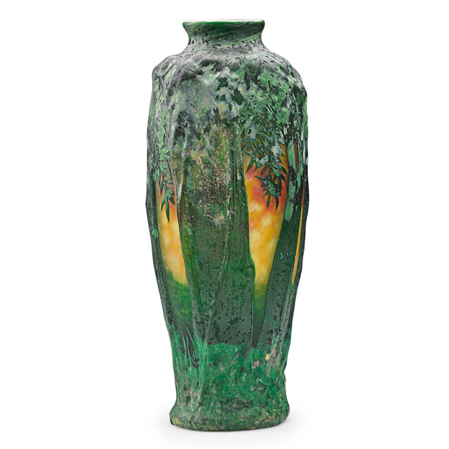 Daum, 'Fine And Rare Mold-Blown Vase With Village Scene Through Trees With Sunset, France', 1900s, Rago/Wright