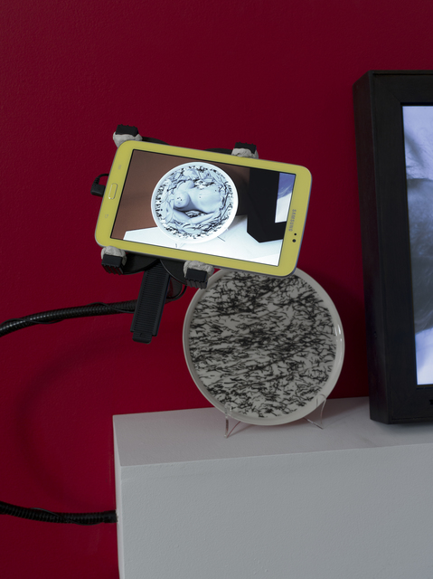 "Claudia Hart, 'Nue Morte', 2013, Installation, Porcelain dish with augmented reality activated pattern, tablet reader with custom case                         dish diameter: 11"" / 28 cm       tablet: 8 x 4.75 x .5"" / 20.3 x 12.1 x 1.3 cm                         produced at mOsantimetre, Istanbul with SEEK art, bitforms gallery"