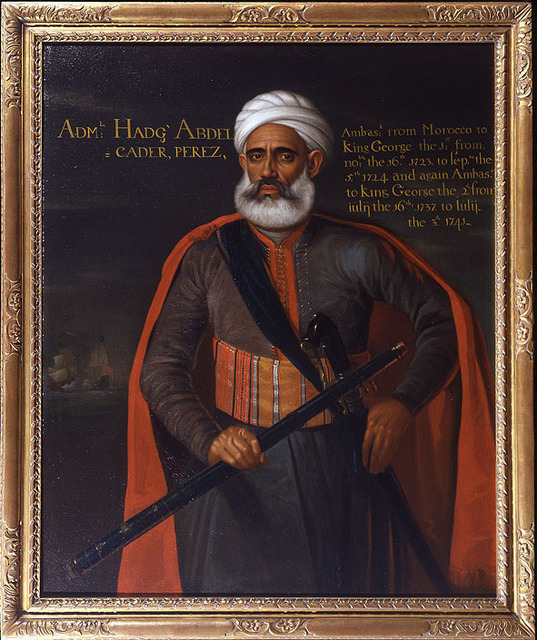 , 'Portrait of Admiral Abdelkader Perez with a naval engagement beyond,' ca. 1724, Ben Elwes Fine Art