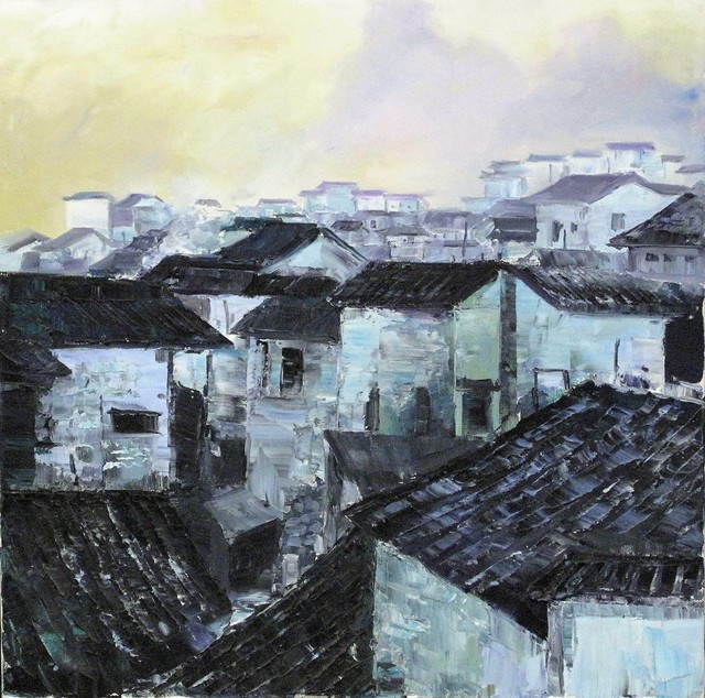 Zhang Shengzan 张胜赞, 'Town in dawn', 2003, Painting, Oil on canvas, A-Art Shengzan Gallery