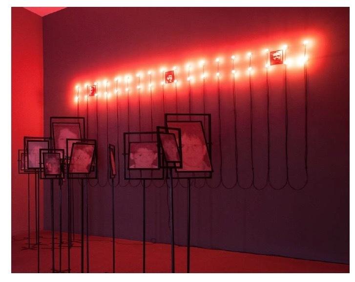Christian Boltanski Lumière, 2000 3 framed photographs, 36 LED lights and cables each photograph 25 x 19 cm