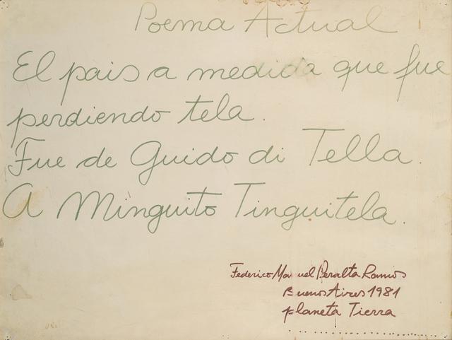 , 'Poema actual,' 1981, Del Infinito
