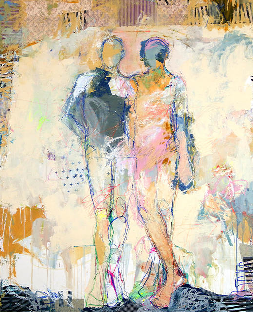 """, '""""Sirens 1"""" Abstract Figurative mixed media painting in pastel colors, Drips and Lines,' 2010-2018, Eisenhauer Gallery"""
