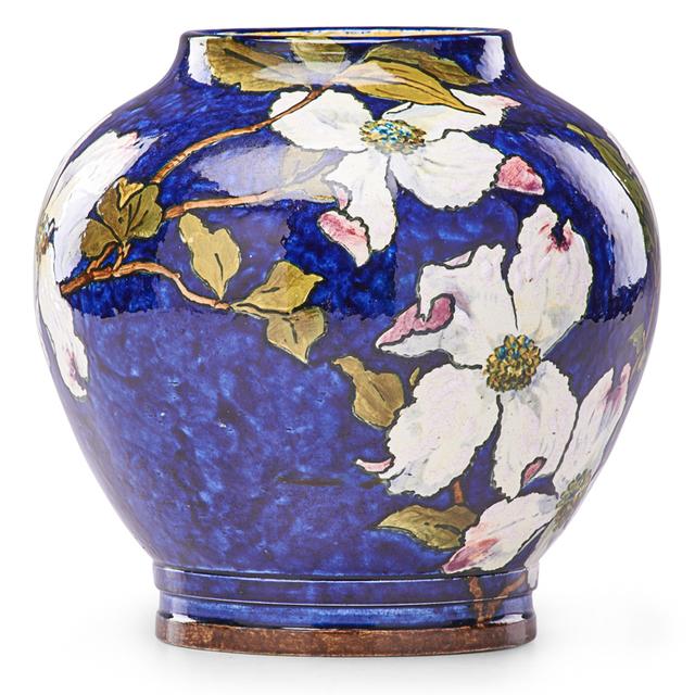 John Bennett, 'Vase With Dogwood Blossoms On Blue Ground, West Orange, NJ', 1884, Design/Decorative Art, Vase With Dogwood Blossoms On Blue Ground, Rago/Wright