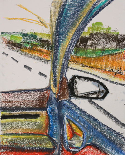 Luong Thai, 'Road trip', 2020, Painting, Oil pastel on canson paper, Matthew Liu Fine Arts