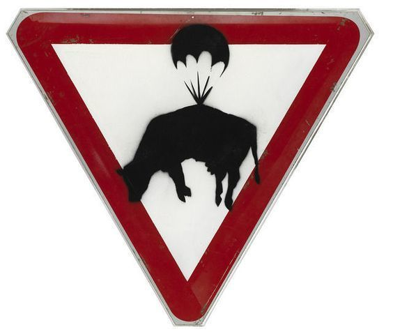 Banksy, 'Slow Down', 2004, Painting, Spray paint on street sign, Andipa
