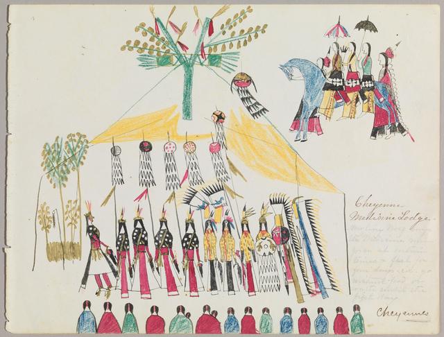 ", 'Ledger Drawing ""Cheyenne Medicine Lodge"",' 1875-1878, Donald Ellis Gallery"
