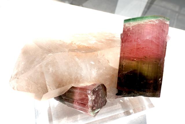 , 'Watermelon Tourmaline and Quartz- gem quality ,' , Cinnabar