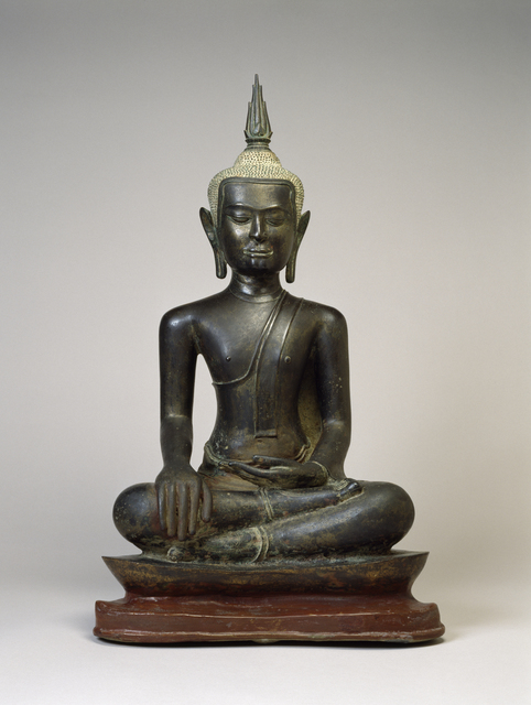 'Buddha at the Moment of Victory', 14th-15th century, Sculpture, Leaded bronze, Walters Art Museum