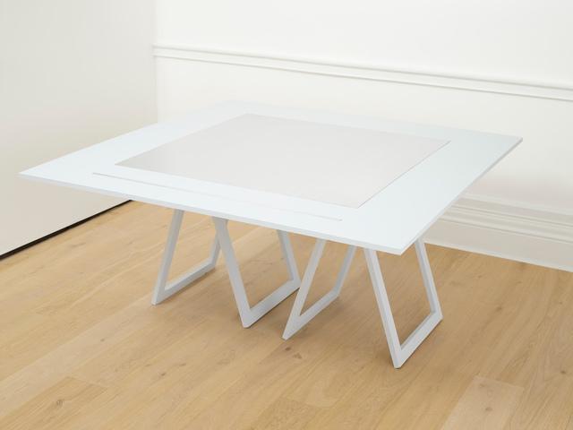 Stanley Brouwn, '1 x 1 m, 1m', 1991, Design/Decorative Art, 2 aluminium elements presented on a wooden table, Richard Saltoun