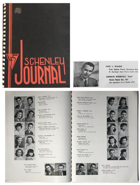 """Andy Warhol, '""""Schenley Journal-45"""", Schenley Senior High School Yearbook Pittsburg, First Edition.', 1945, VINCE fine arts/ephemera"""