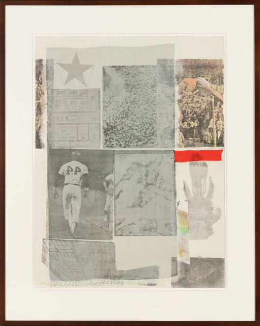 Robert Rauschenberg, 'Back Out', 1979, Mixed Media, Hand collage and hand silkscreen on paper, Heather James Fine Art Gallery Auction