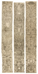 Three ornamental vertical panels with sphinxes, decorative shields and putti (from a series of twelve unnumbered vertical panels)