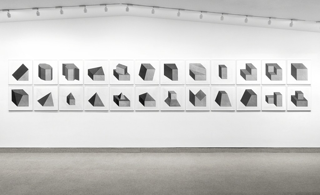 Forms Derived from a Cube, 1982, set of twenty-four etchings with aquatint This installation: 44 x 264 inches