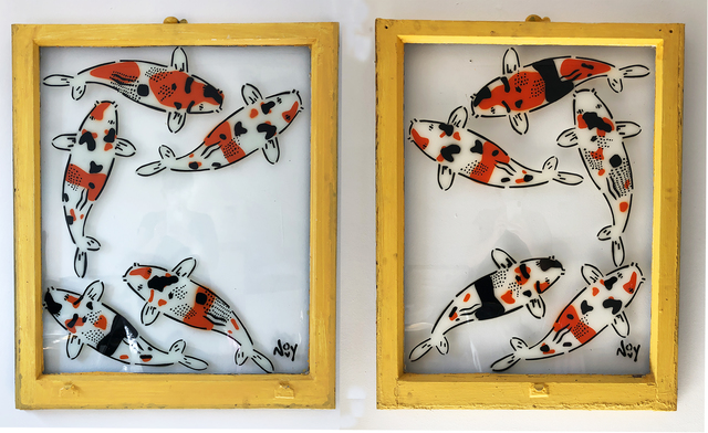 "Jeremy Novy, '""5 Koi - Diptych"" Spray paint on yellow window wood frame', 2021, Painting, Spray paint on glass, Wallspace"