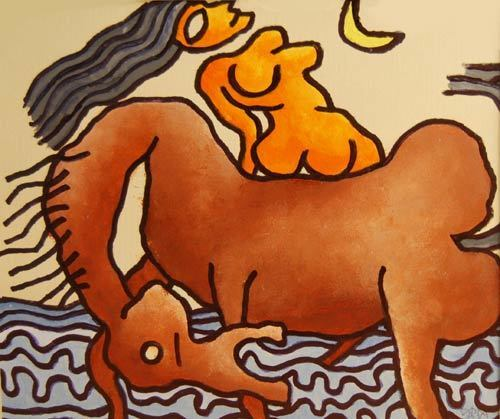 , 'Large eye, long hair, nude women on the horse, Mixed Media in brown & red by Master Indian Artist Prakash Karmakar,' 2004, Gallery Kolkata