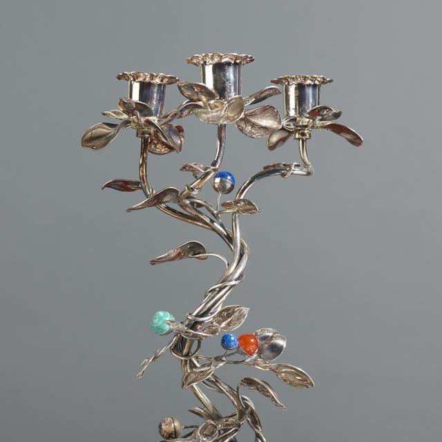 Gabriele De Vecchi, 'candelabra, pair', c. 1990, Design/Decorative Art, Sterling silver, glass, quartz, Rago/Wright