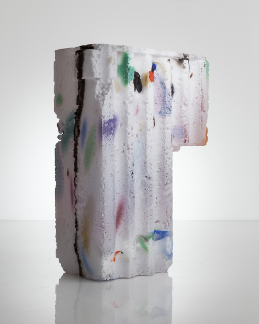 Thaddeus Wolfe, 'Unique Assemblage vessel in white with colored markings and amethyst interior hand-blown, cut and polished glass,' 2014, R & Company