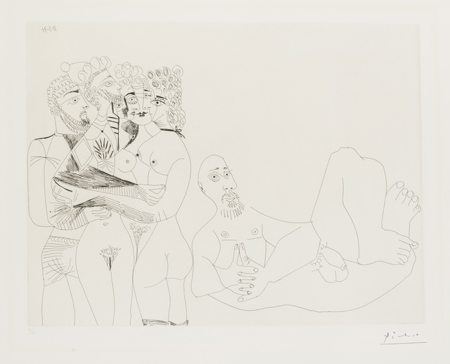 Pablo Picasso, '156 Series: Reclining Male Nude and Five Embracing Nudes, One a Hermaphrodite (Bloch 1977)', 1971, Forum Auctions