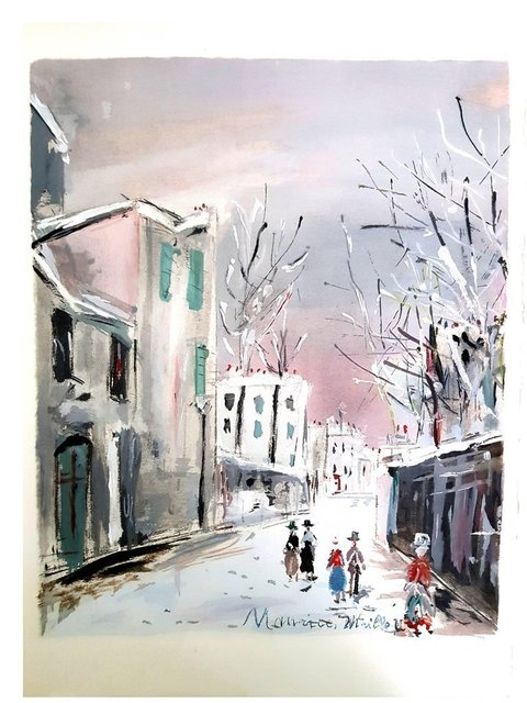 """Maurice Utrillo, 'Pochoir """"Inspired Village of Montmartre VII"""" after Maurice Utrillo', 1950, Galerie Philia"""
