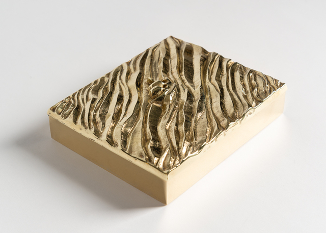 "Line Vautrin, 'La Mer ""The Sea"" Box', ca. France, circa 1942, 1950, Design/Decorative Art, Bronze doré box, interior lined with cork, Maison Gerard"