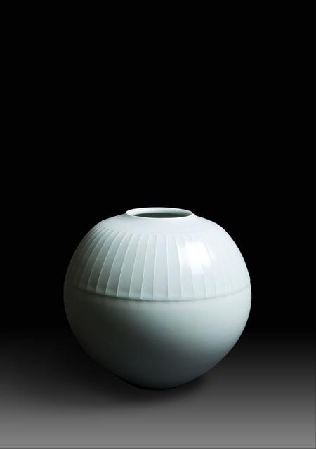 ", 'Seihakuji kabin ""Jō"", Pale blue glazed Porcelain Flower Vase ""Lines"" (T-3638),' 1978, Erik Thomsen"
