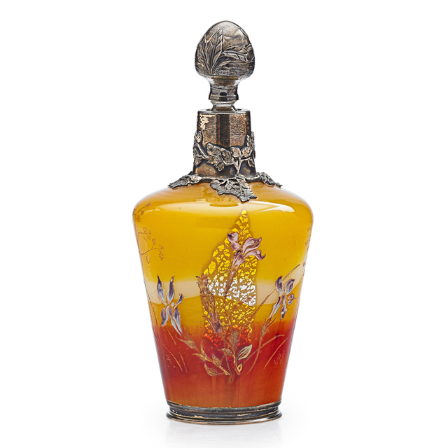 Galle, 'Early Bottle With Irises And Decorated Overlay And Stopper, France', Late 19th C., Design/Decorative Art, Acid-Etched And Enameled Internally Decorated Glass, Foil Inclusions, Silver, Rago/Wright