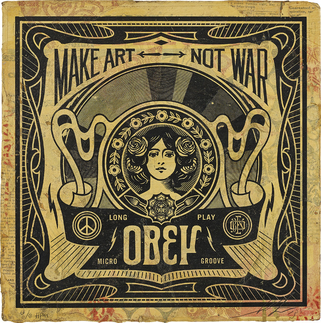Shepard Fairey, 'Make Art Not War', 2013, Drawing, Collage or other Work on Paper, Mixed media collage on vintage album cover, Phillips