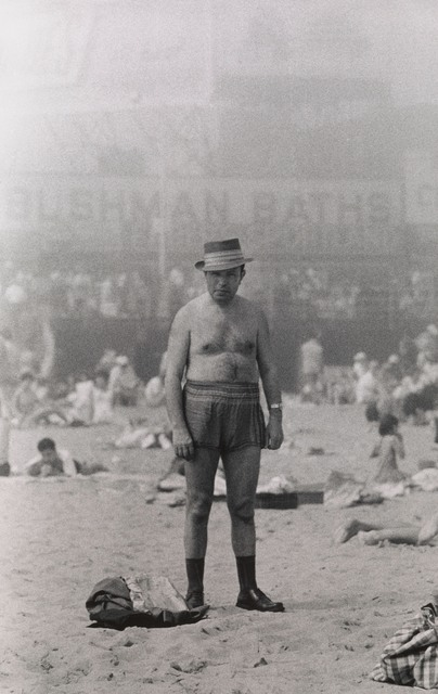 , 'Man in hat, trunks, socks and shoes, Coney Island, N.Y. ,' 1960, San Francisco Museum of Modern Art (SFMOMA)