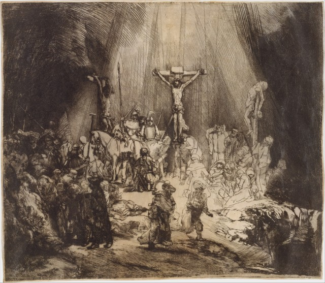 Rembrandt Van Rijn Christ Crucified Between The Two Thieves: The