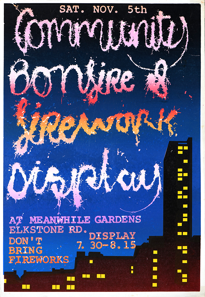 Bonfire by John Phillips, Paddington Printshop. Silkscreen poster 1978