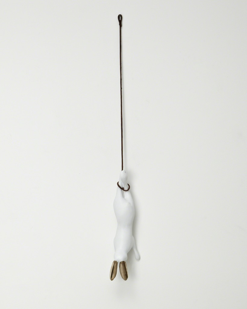 "Unique hanging ""Hare"" in porcelain and bronze, with a bronze branch and leather rope"