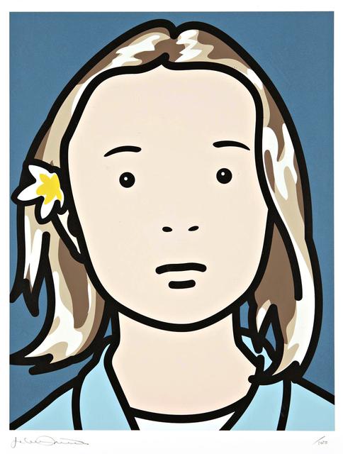 Julian Opie, 'Elena Schoolgirl (With Lotus Blossom)', 2006, Oliver Clatworthy