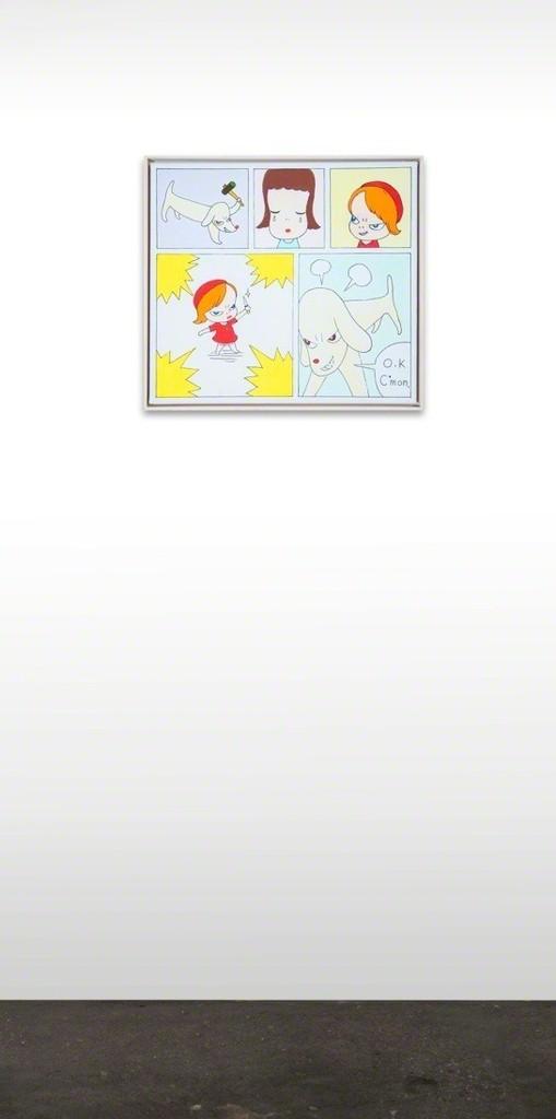 Yoshitomo NARA  Say Good-Bye to Stuffed Dog, No. 1, 1996  Acrylic and Pen on Canvas  16 1/4 x 17 7/8 inches