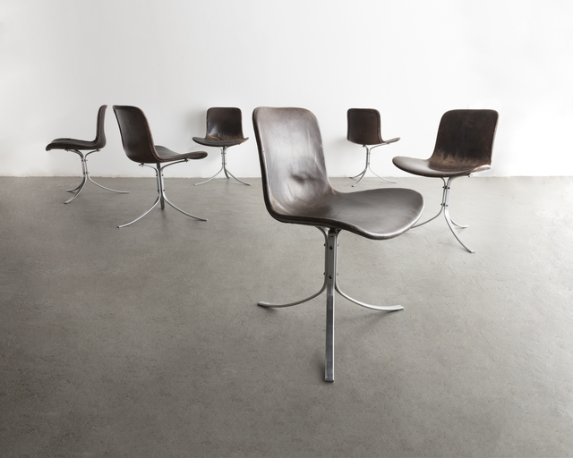 """Poul Kjærholm, 'Set of six (6) """"PK-9"""" chairs in black oxhide and stainless steel', 1961, R & Company"""