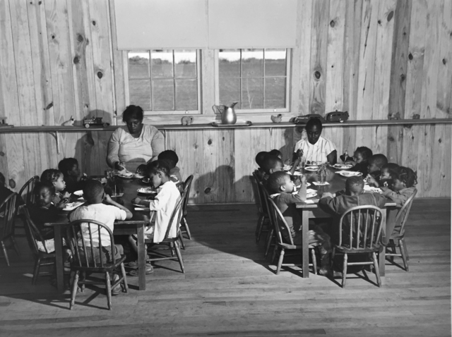 , 'Hot lunches for children of agricultural workers in day nursery of Okeechobee Migratory Labor Camp, Belle Glade, FL,' 1941, G. Gibson Gallery