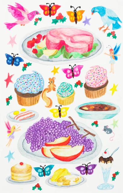 Yukari Sakura, 'Untitled (Holiday Feast)', 2018, Painting, Mixed media on paper, Creativity Explored