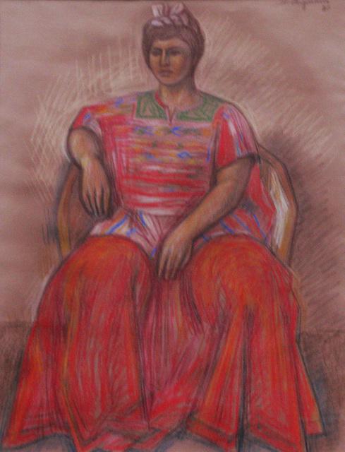 , 'Chiapaneca en rojos ,' 1980, Oscar Roman